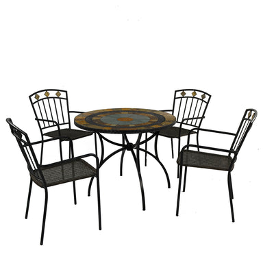 Exclusive Garden Villena 91cm Patio Table with 4 Malaga Chairs - Ruby's Garden Boutique