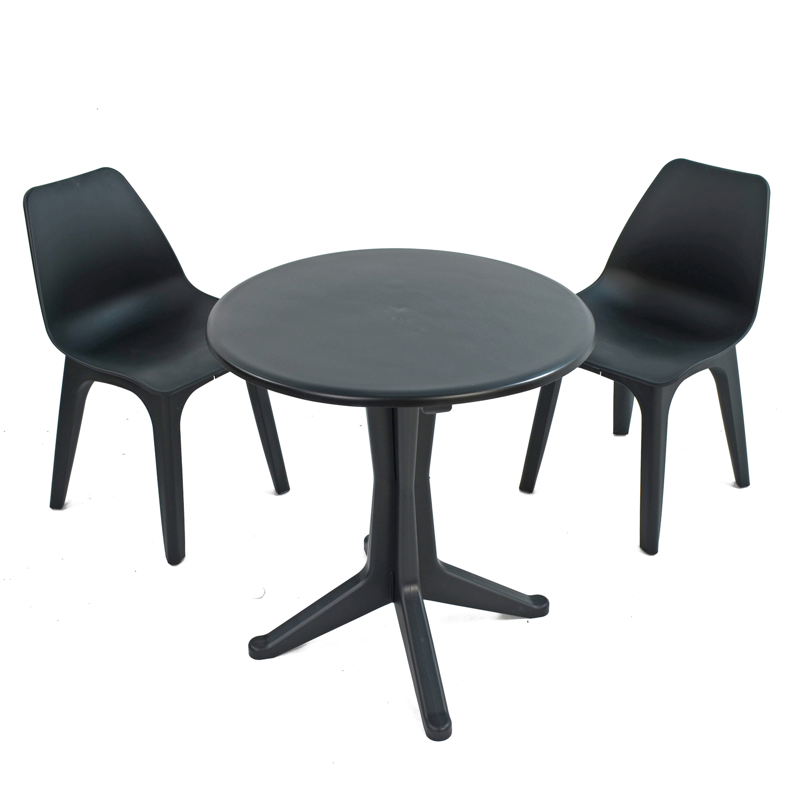 Trabella Anthracite Levante Dining Table With 2 Eolo Chairs