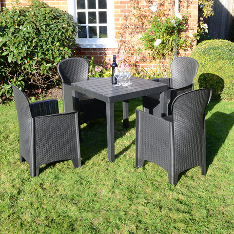Trabella Roma Square Table With 4 Sicily Chairs Garden Set Anthracite - Ruby's Garden Boutique