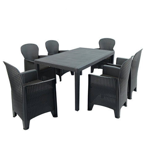 Trabella Salerno Dining Table With 6 Sicily Chairs Patio Set Anthracite - Ruby's Garden Boutique