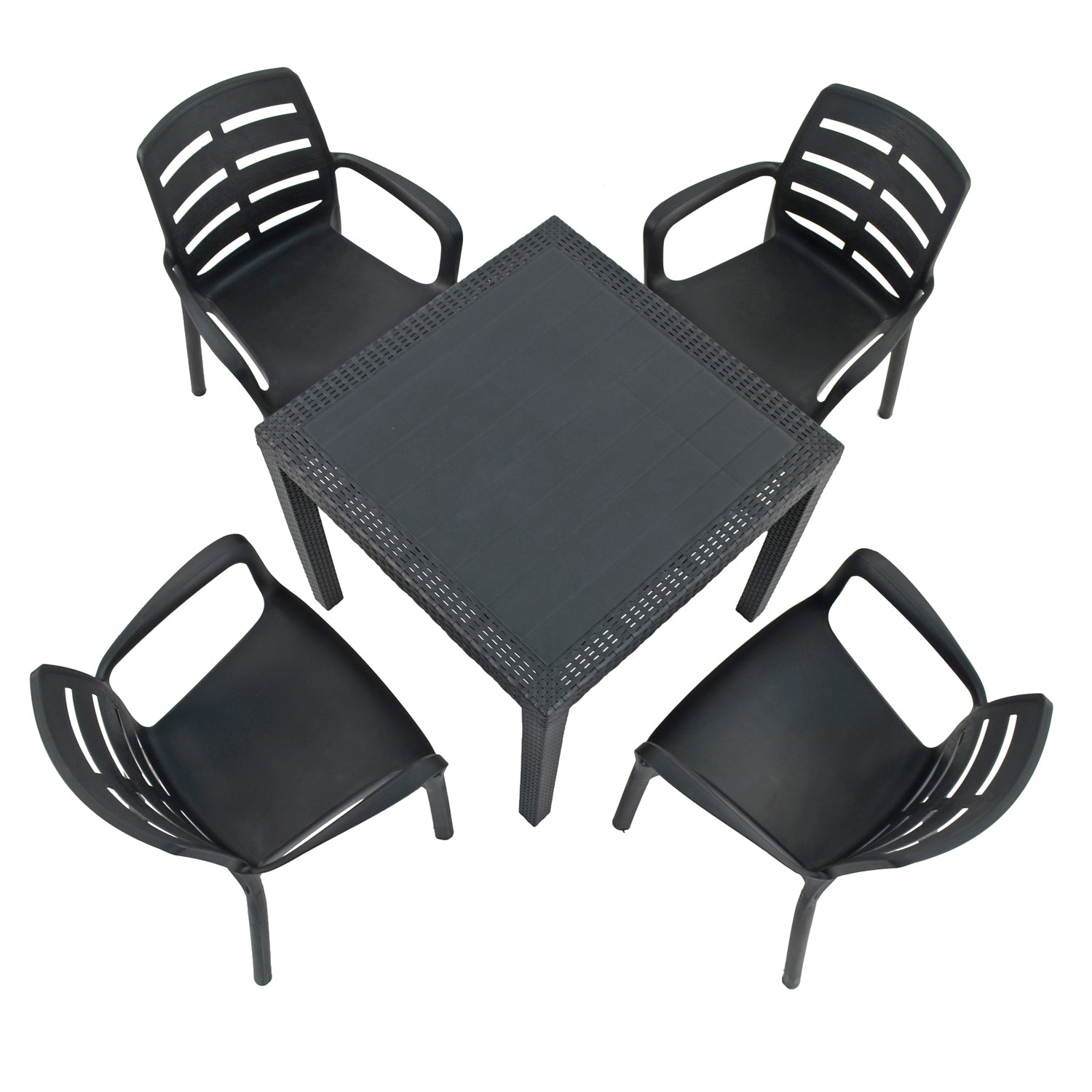Trabella Salerno Square Table with 4 Siena Chairs Garden Set Anthracite - Ruby's Garden Boutique
