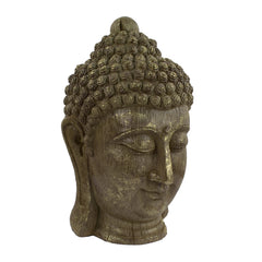 Elur Buddha Head 40cm Carved Wood Effect Statue - Ruby's Garden Boutique