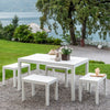Image of Trabella Roma Rectangular Garden Table With 4 Roma Bench Set in White - Ruby's Garden Boutique