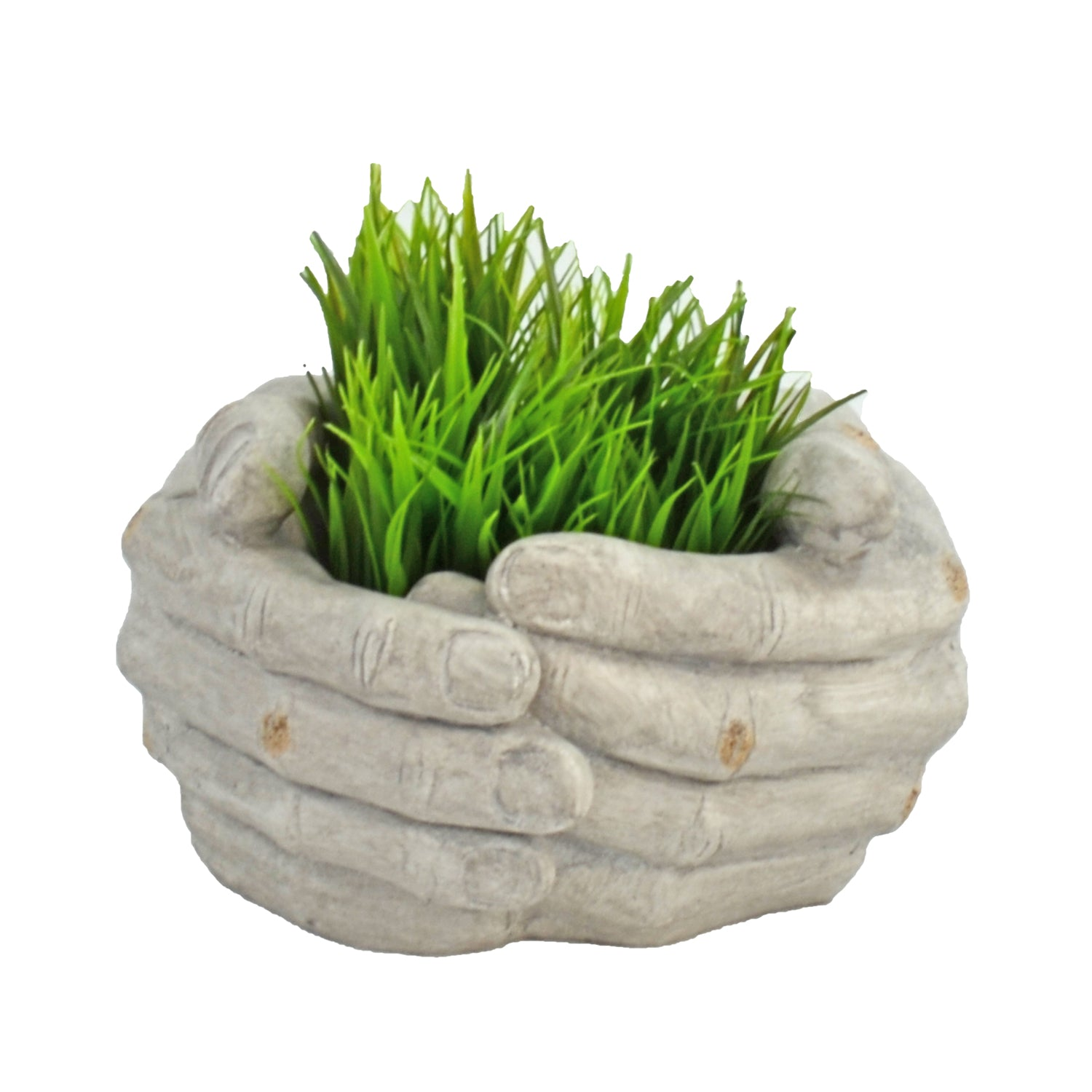 Solstice Sculptures Cupped Hands Planter 19cm Weathered Stone Effect - Ruby's Garden Boutique