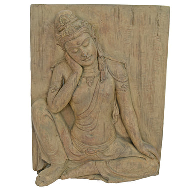 Solstice Sculptures Buddha Plaque 64cm Carved Wood Effect - Ruby's Garden Boutique