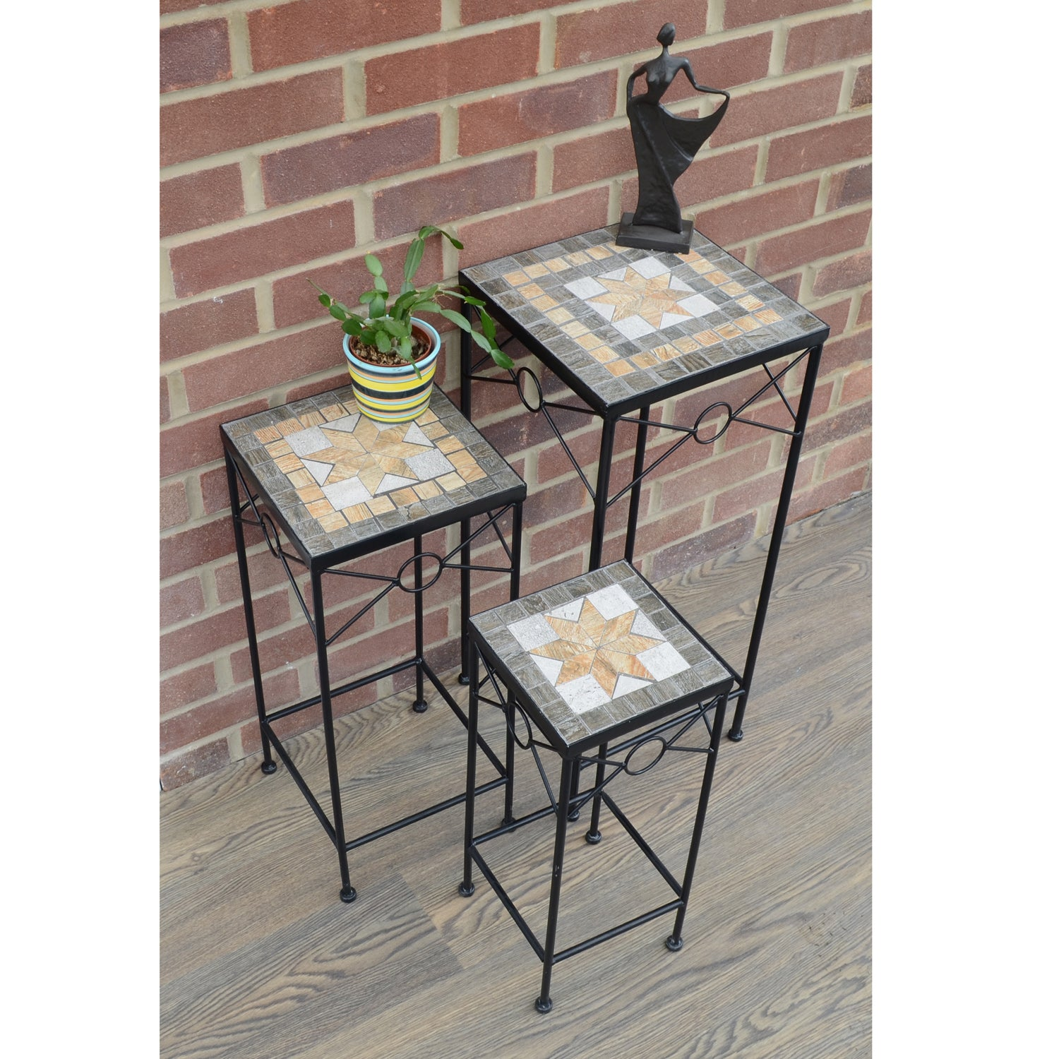 Summer Terrace Brava Square Plantstand Set Of 3 Tall - Ruby's Garden Boutique