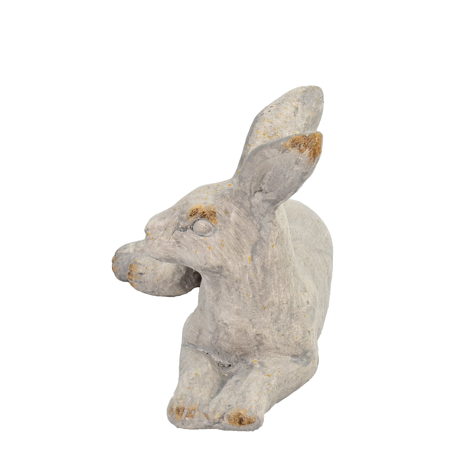 Solstice Sculptures Hare Lying 24cm Weathered Stone Effect - Ruby's Garden Boutique