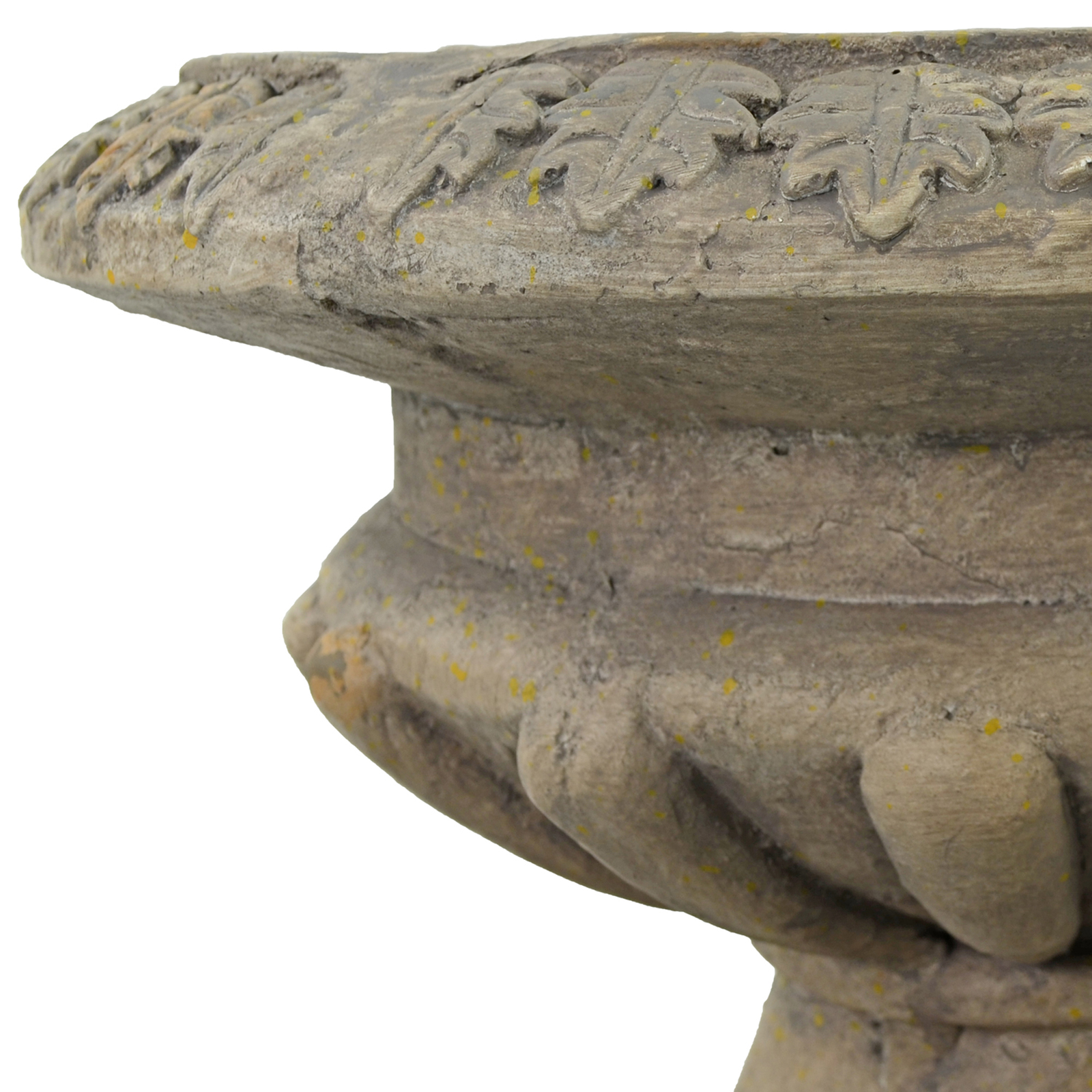 Solstice Sculptures Fluted Urn Low 28cm Weathered Dark Stone Effect