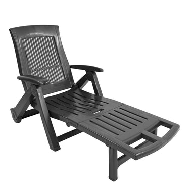 Trabella Potenza Plastic Sun Lounger in Anthracite - Ruby's Garden Boutique