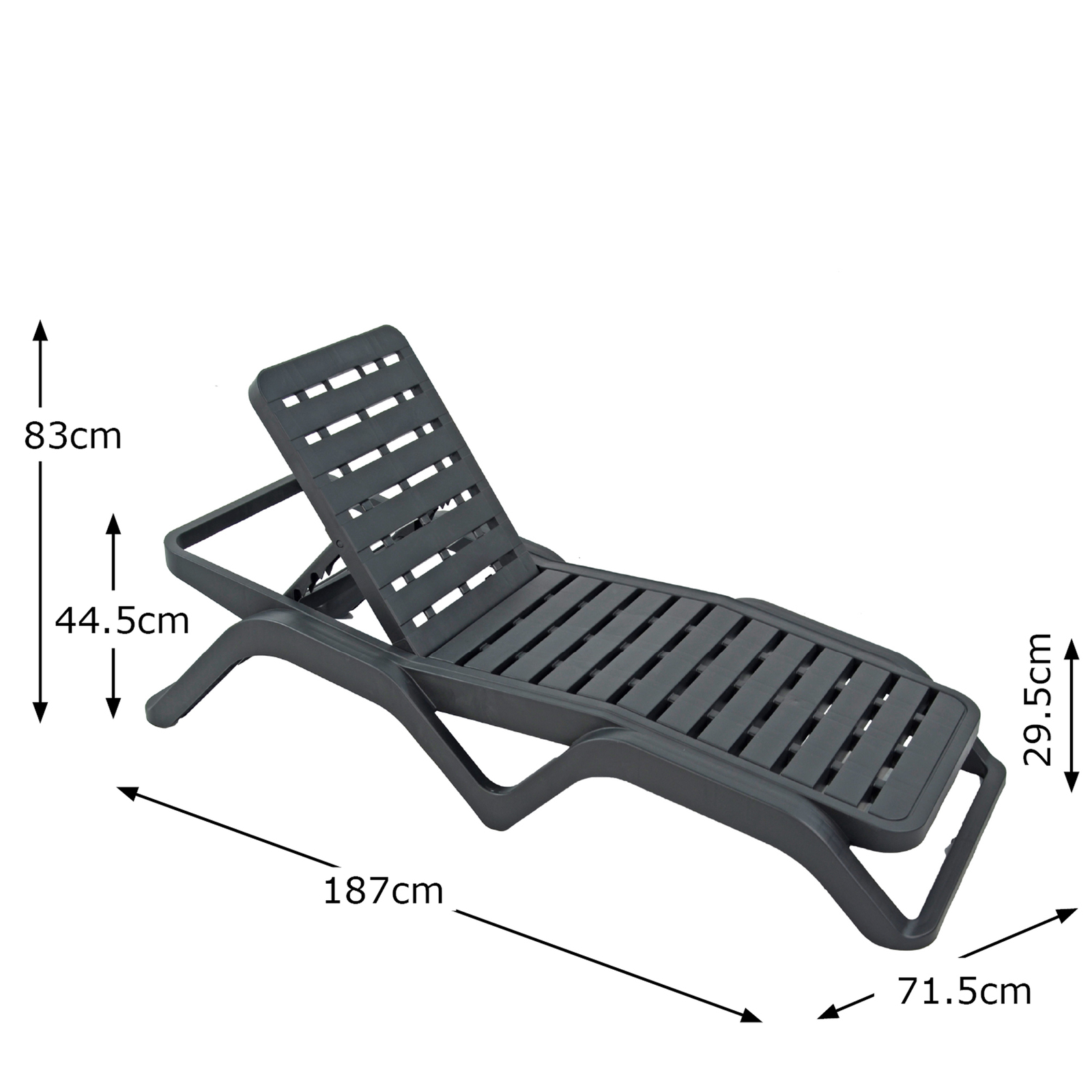 Trabella Scirocco Sun Lounger in Anthracite