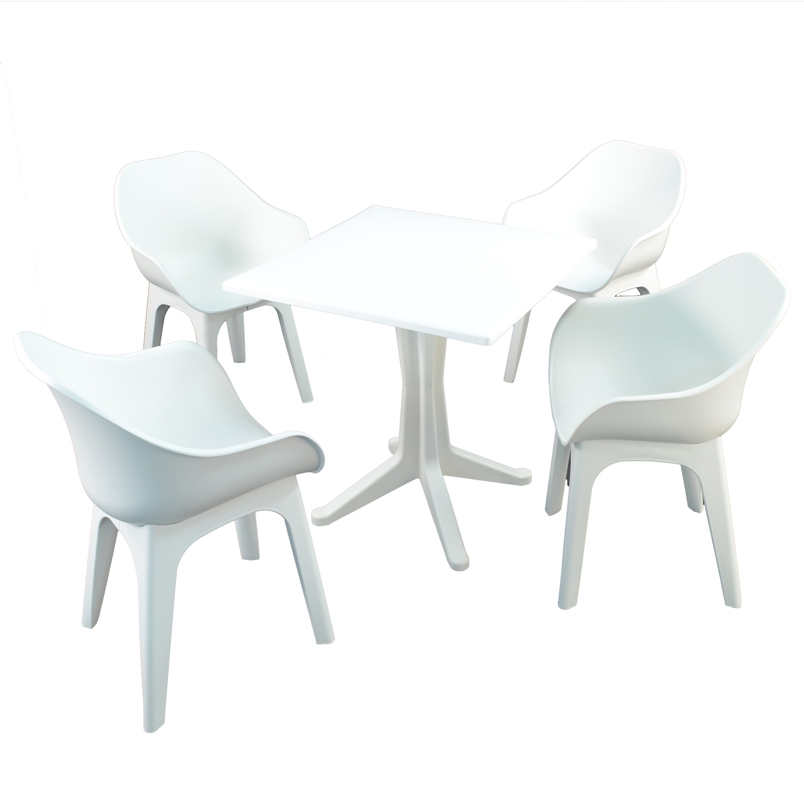 Trabella White Ponente Dining Table With 4 Ghibli Chairs