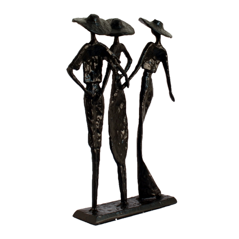 Elur Ladies At The Races Statue Iron Figurine 27cm in Mocha Brown - Ruby's Garden Boutique