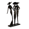 Image of Elur Ladies At The Races Statue Iron Figurine 27cm in Mocha Brown - Ruby's Garden Boutique