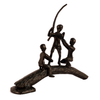 Image of Elur Boys On Log Iron Statue Figurine 19cm in Mocha Brown - Ruby's Garden Boutique