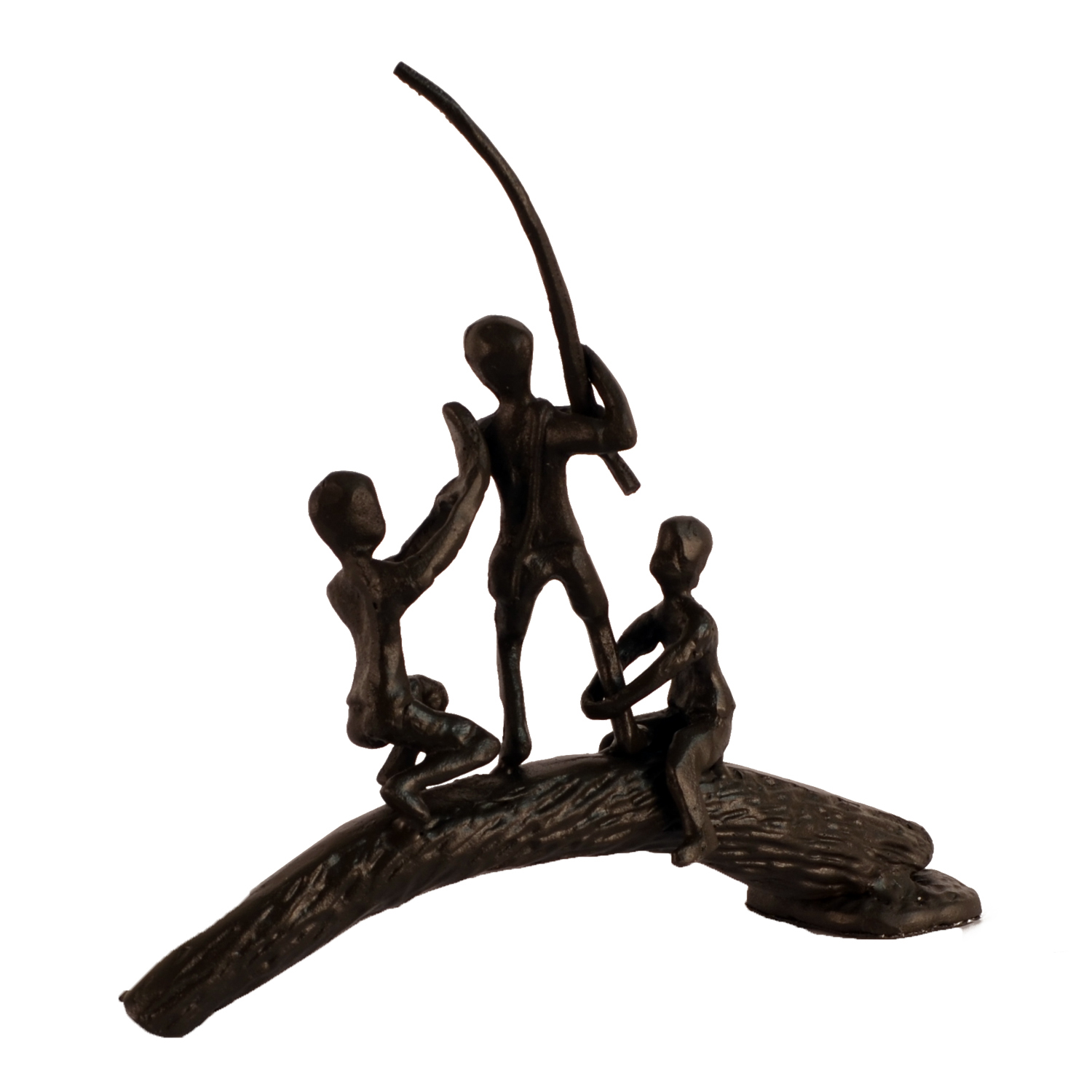 Elur Boys On Log Iron Statue Figurine 19cm in Mocha Brown - Ruby's Garden Boutique