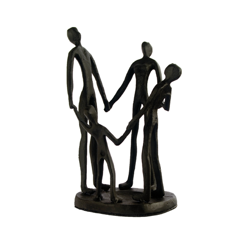Elur Family Circle Iron Status Figurine 19cm in Mocha Brown - Ruby's Garden Boutique
