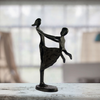 Image of Elur Mother & Child Swinging Iron Status Figurine 23cm in Mocha Brown - Ruby's Garden Boutique