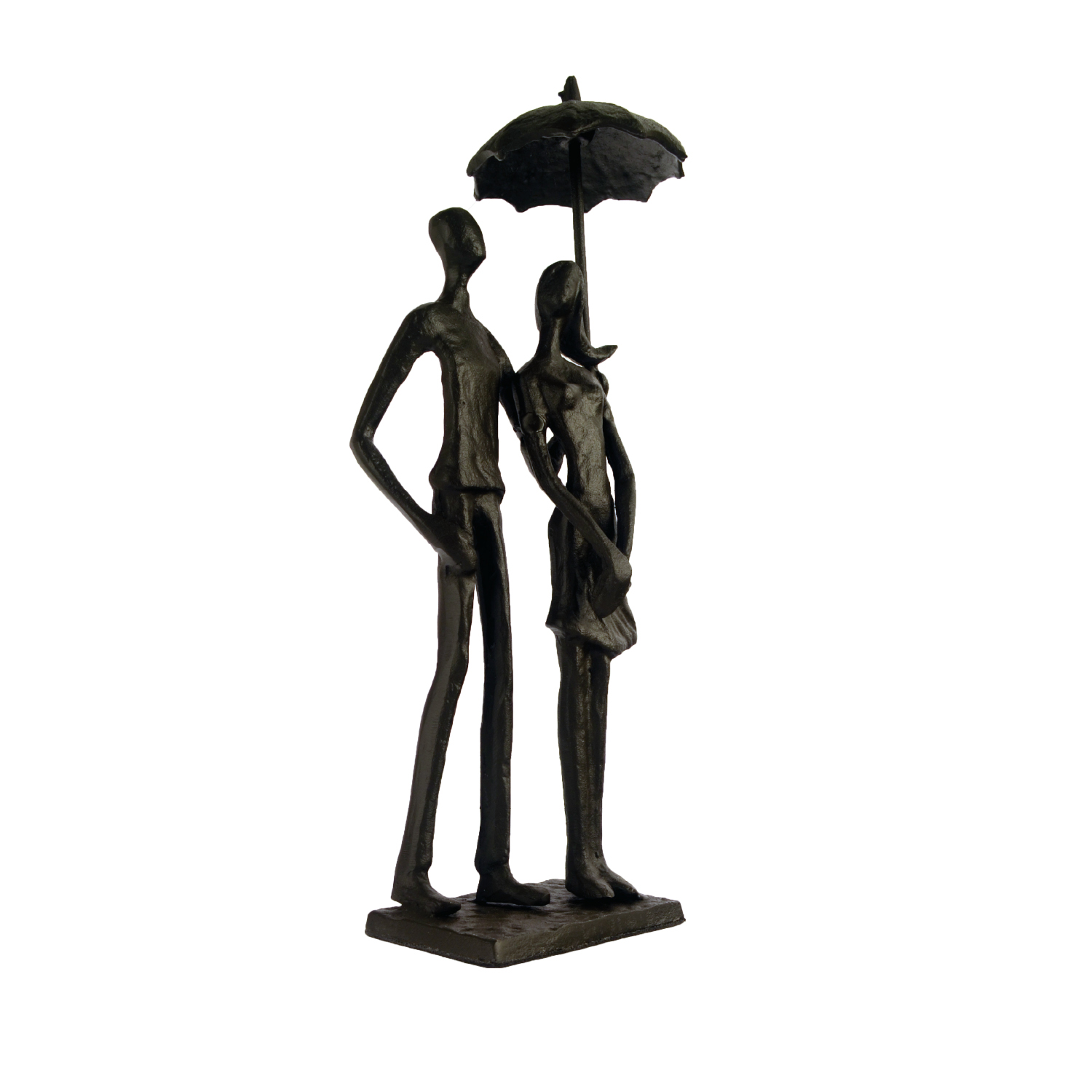 Elur Umbrella Couple Standing Iron Status Figurine 25cm in Mocha Brown - Ruby's Garden Boutique