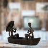 Image of Elur Romantic Boat Trip Iron Status Figurine 11cm in Mocha Brown - Ruby's Garden Boutique