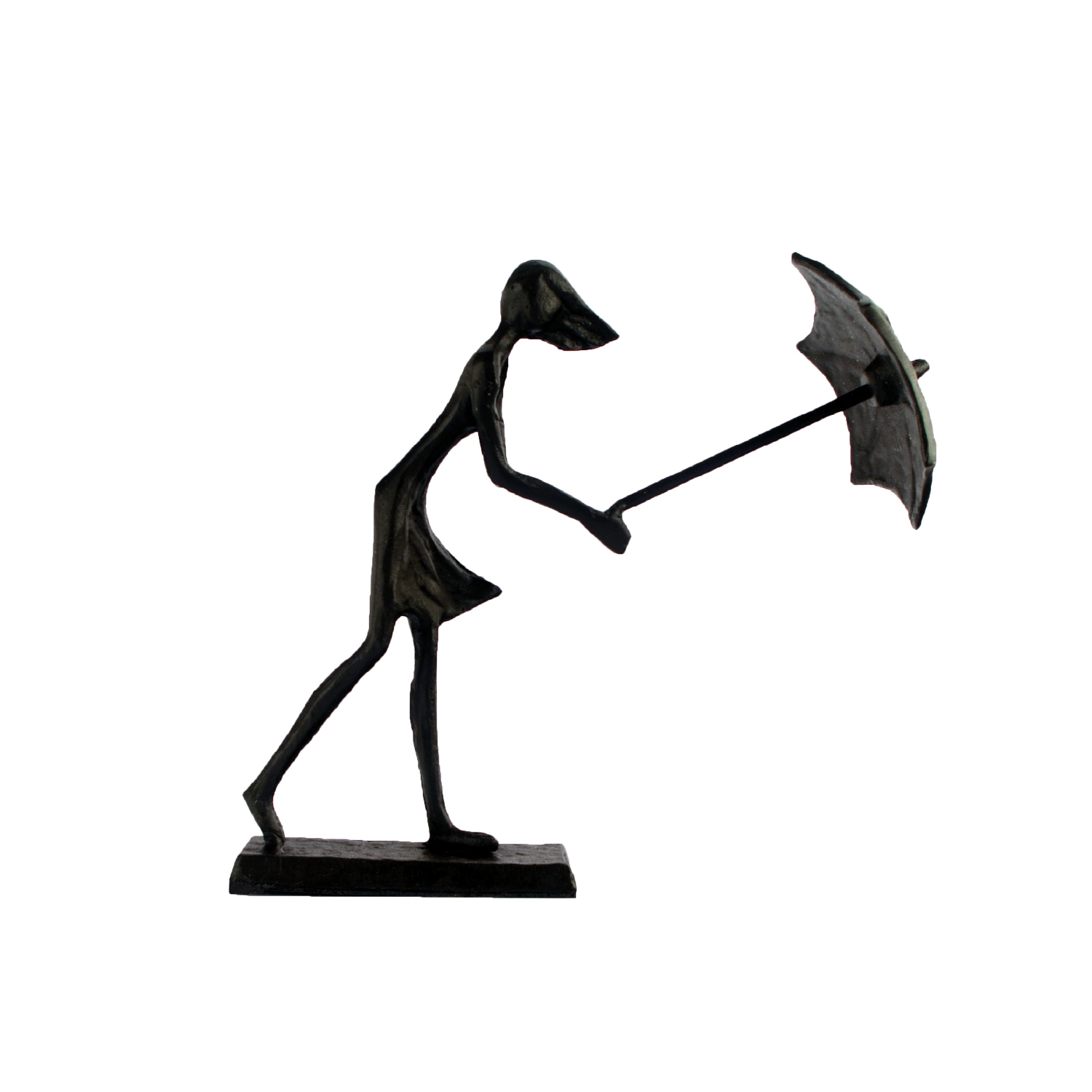 Elur Umbrella Girl In Wind Iron Status Figurine 15cm in Mocha Brown - Ruby's Garden Boutique