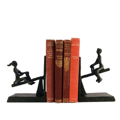 Elur See Saw Iron Book Ends 14cm in Mocha Brown - Ruby's Garden Boutique