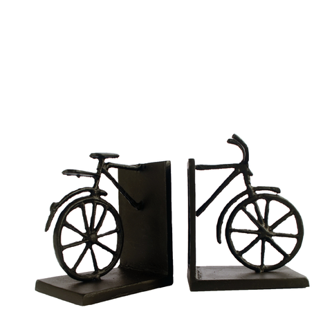 Elur Bicycle Iron Book Ends 13cm in Mocha Brown - Ruby's Garden Boutique