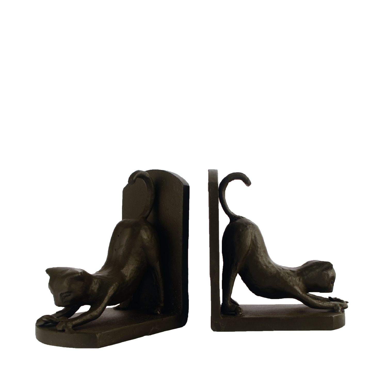 Elur Cat Iron Book Ends 13cm in Mocha Brown - Ruby's Garden Boutique