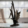 Image of Elur Bird In Reeds Iron Ornament 47cm in Mocha Brown - Ruby's Garden Boutique