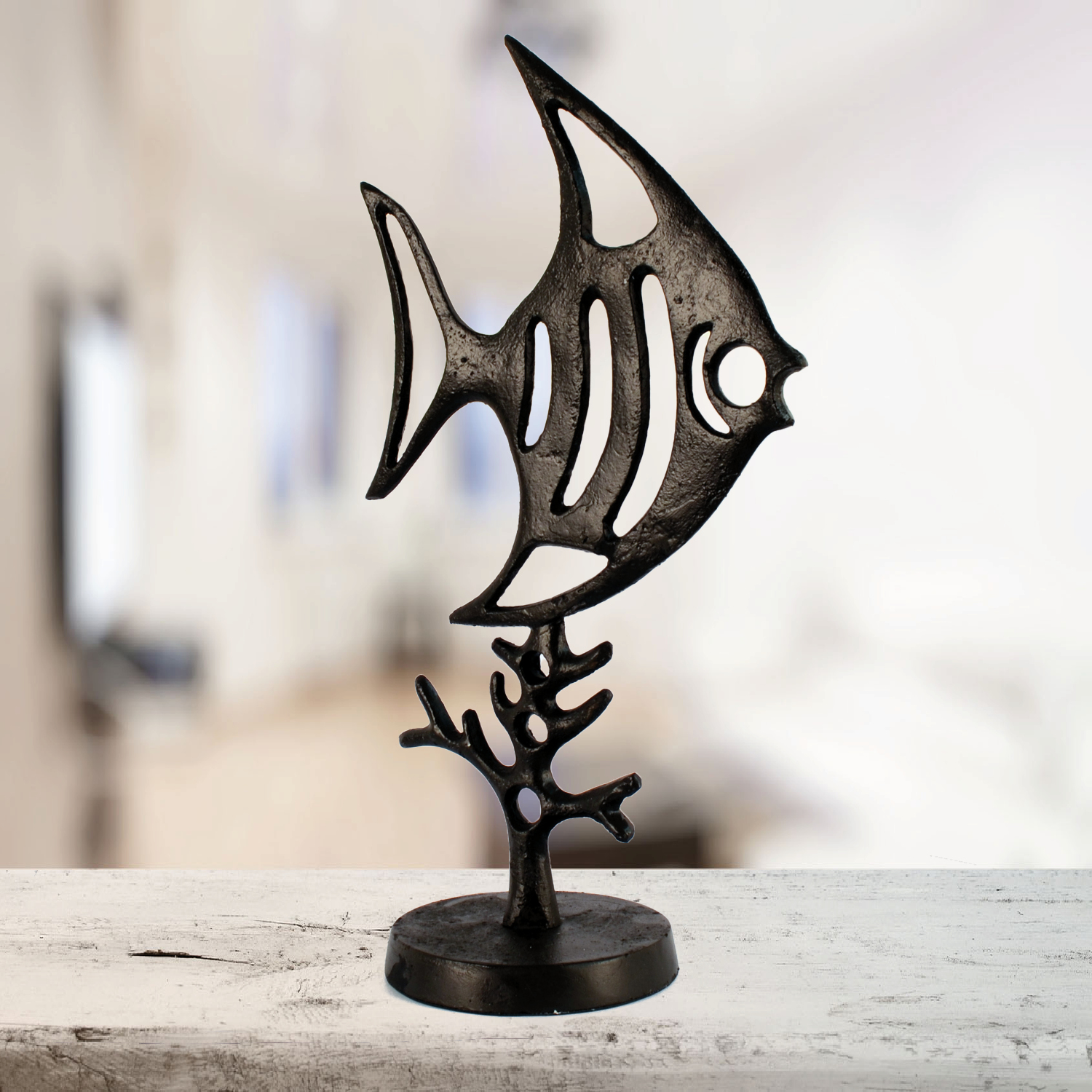 Elur Angel Fish Iron Ornament 37cm in Mocha Brown - Ruby's Garden Boutique
