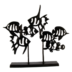 Elur Angel Fish Shoal Iron Ornament 33cm in Mocha Brown - Ruby's Garden Boutique