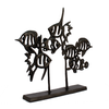 Image of Elur Angel Fish Shoal Iron Ornament 33cm in Mocha Brown - Ruby's Garden Boutique
