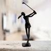 Image of Elur Golfer Lady Iron Figurine 29cm in Mocha Brown - Ruby's Garden Boutique