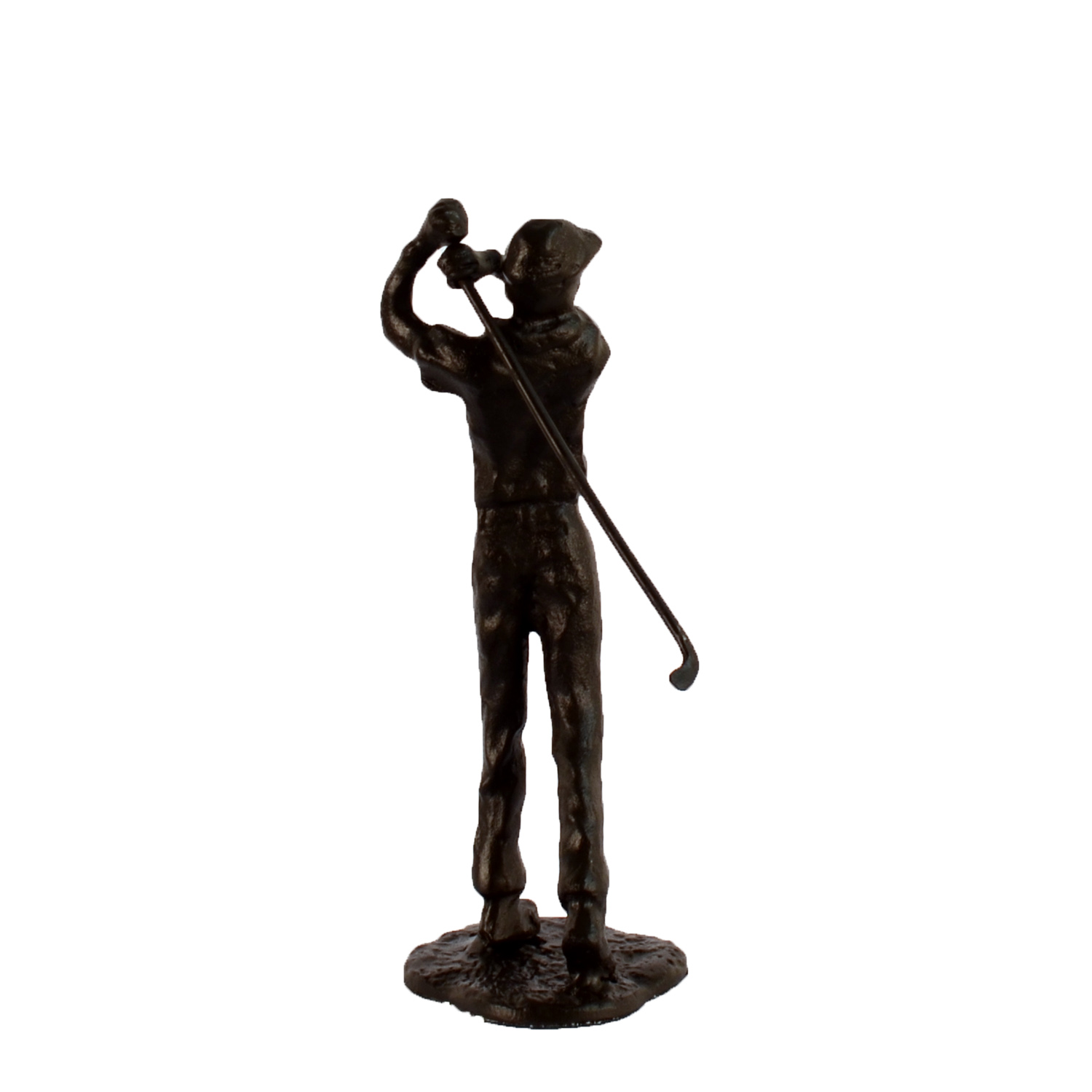 Elur Golfer Man Iron Figurine 22cm in Mocha Brown - Ruby's Garden Boutique