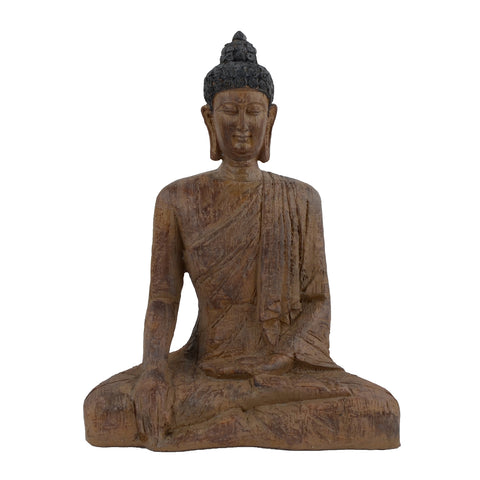 Elur Buddha Sitting 29cm Carved Wood Effect Statue - Ruby's Garden Boutique