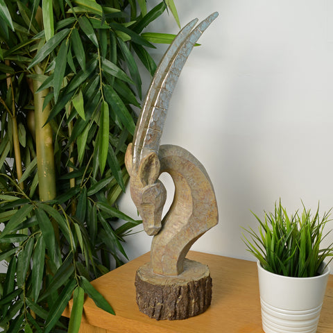 Elur Oryx Head 53cm Carved Wood Effect Statue - Ruby's Garden Boutique
