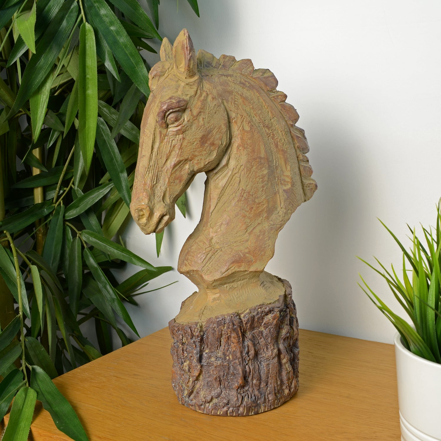 Elur Horse Head 36cm Carved Wood Effect Statue - Ruby's Garden Boutique