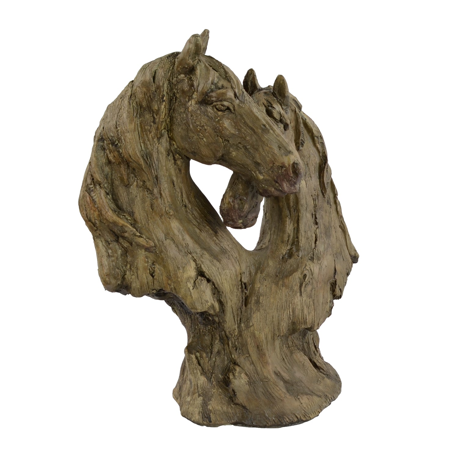 Elur Double Horse Head 35cm Carved Wood Effect Statue - Ruby's Garden Boutique