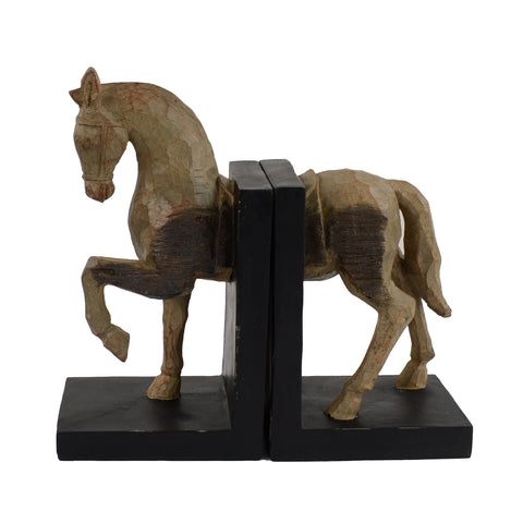 Elur Horse Bookends 24cm Carved Wood Effect - Ruby's Garden Boutique