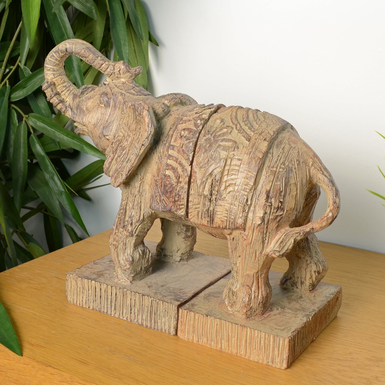 Elur Elephant Bookends 23cm Carved Wood Effect - Ruby's Garden Boutique