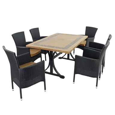 Byron Manor Charleston Dining Table With 6 Stockholm Black Chairs - Ruby's Garden Boutique
