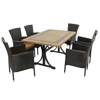 Byron Manor Charleston Dining Table With 6 Stockholm Brown Chairs - Ruby's Garden Boutique