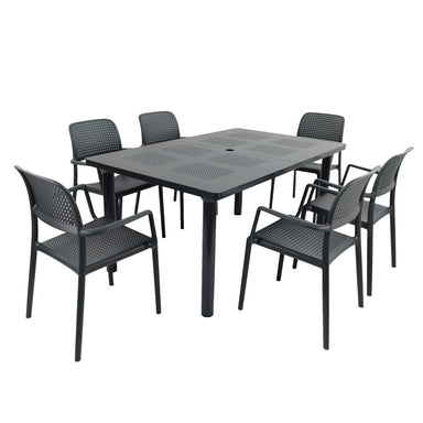 Nardi Anthracite Libeccio Extending Table with 6 Bora Chair Set - Ruby's Garden Boutique