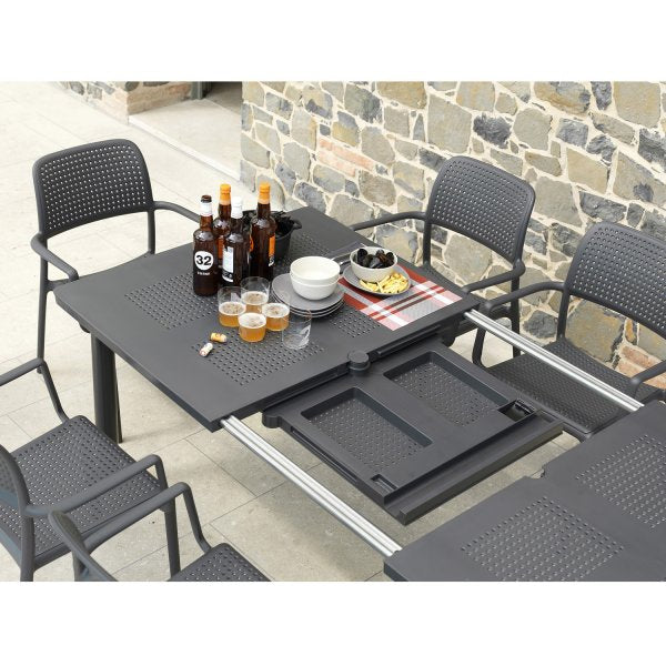 Nardi Anthracite Libeccio Extending Table with 2 Darsena & 4 Bora Chair Set - Ruby's Garden Boutique