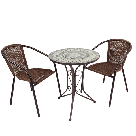 Summer Terrace Verde Bistro Set with 2 San Remo Chairs - Ruby's Garden Boutique