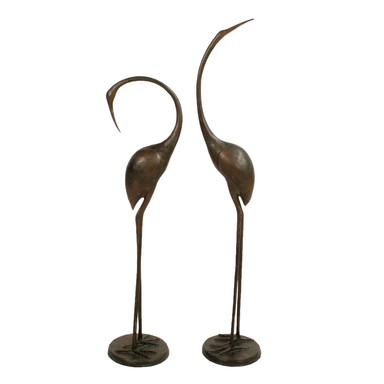 Solstice Sculptures Contemporary Cranes Birds Pair in Dark Aluminium Verdigris - Ruby's Garden Boutique