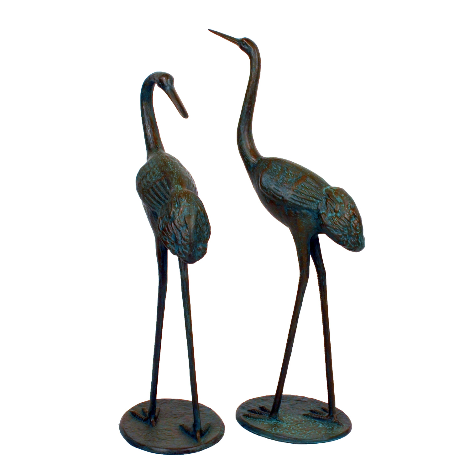 Solstice Sculptures Cranes Pair Medium Aluminium Dark Verdigris - Ruby's Garden Boutique