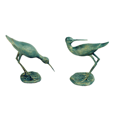 Solstice Sculptures Sandpipers Pair Aluminium Gold Verdigris - Ruby's Garden Boutique