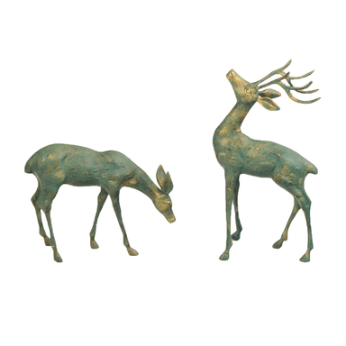Solstice Sculptures Deer Pair Small Aluminium Gold Verdigris - Ruby's Garden Boutique