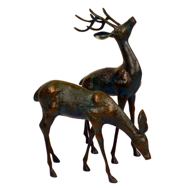 Solstice Sculptures Deer Pair Small Aluminium Dark Verdigris - Ruby's Garden Boutique