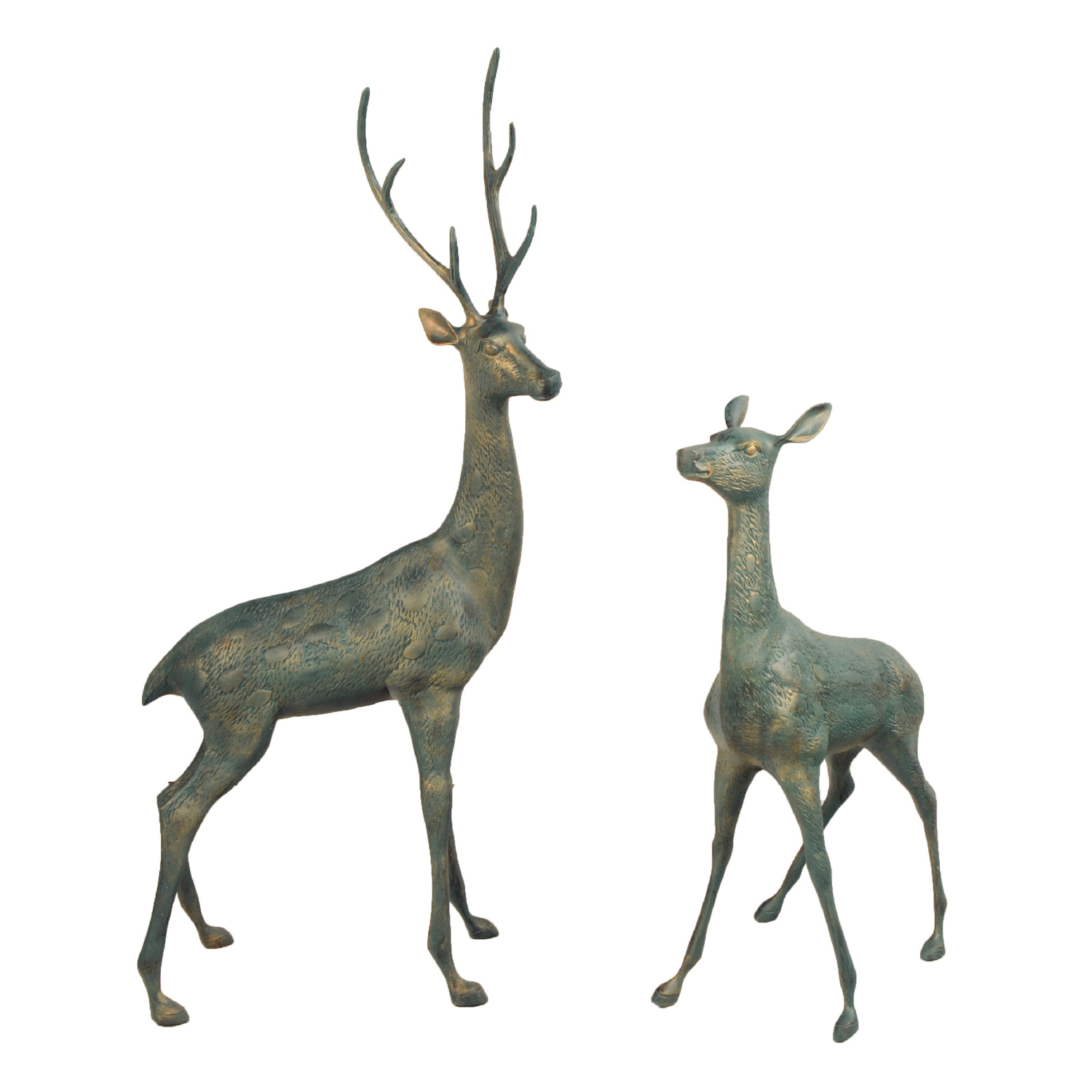 Solstice Sculptures Deer Pair Large Aluminium Gold Verdigris - Ruby's Garden Boutique